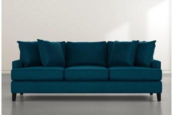 """Madalyn 91"""" Teal Blue Velvet Sofa"""