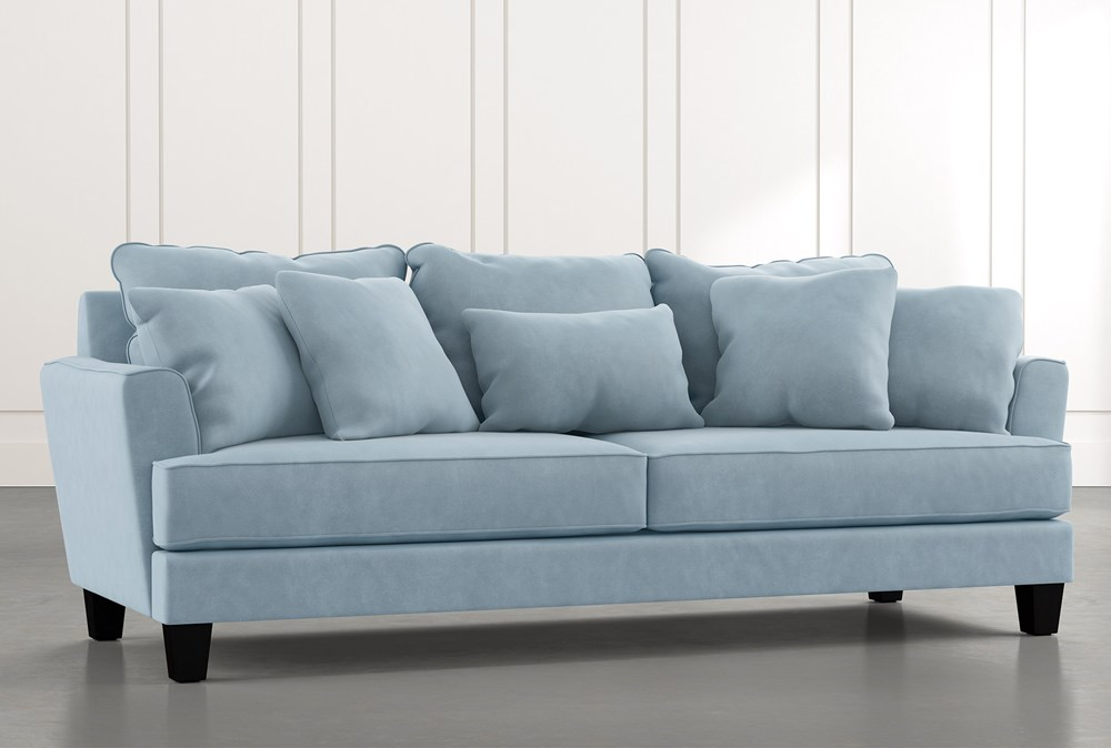 "Elijah II 100"" Light Blue Sofa"