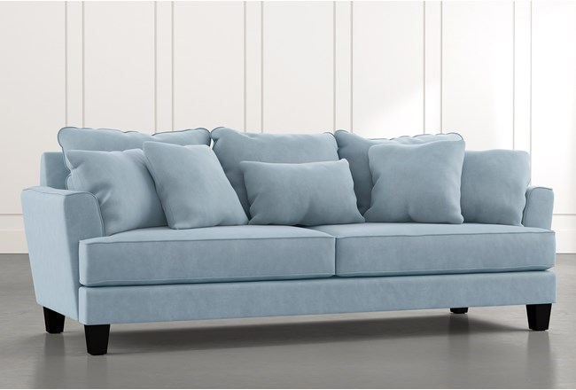 "Elijah II 100"" Light Blue Sofa - 360"