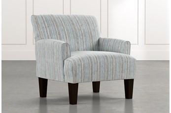 Elijah Light Blue Striped Accent Chair