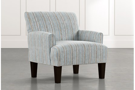 Elijah Light Blue Striped Accent Chair
