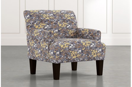 Elijah Yellow Geometric Accent Chair