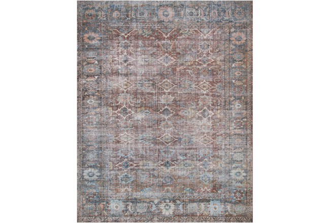 45X66 Rug-Magnolia Home Lucca Brick/Ocean By Joanna Gaines  - 360