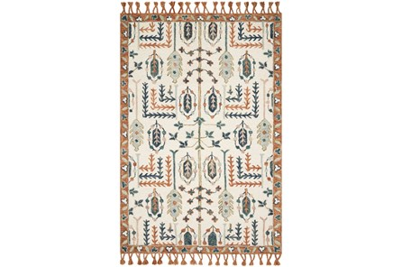 42X66 Rug-Magnolia Home Kasuri Ivory/Persimmon By Joanna Gaines