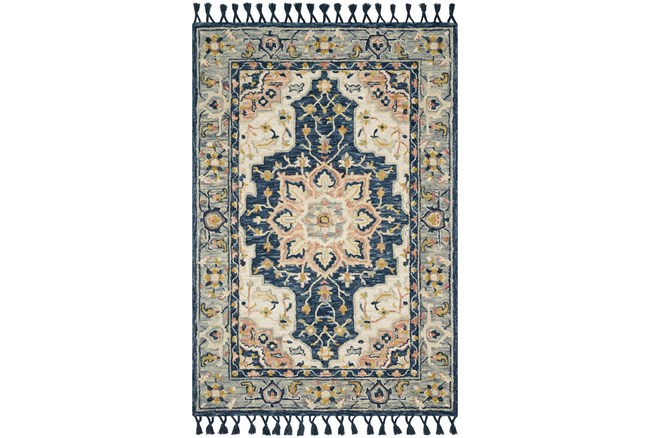 27X45 Rug-Magnolia Home Kasuri Blue/Multi By Joanna Gaines  - 360