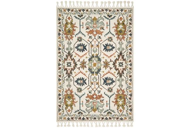 93X117 Rug-Magnolia Home Kasuri Ivory/Tuscan Clay By Joanna Gaines  - 360