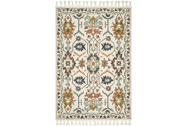 111X156 Rug-Magnolia Home Kasuri Ivory/Tuscan Clay By Joanna Gaines  - 360