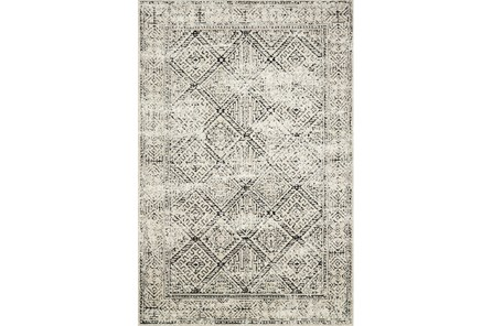 93X117 Rug-Magnolia Home Lotus Ivory/Black By Joanna Gaines