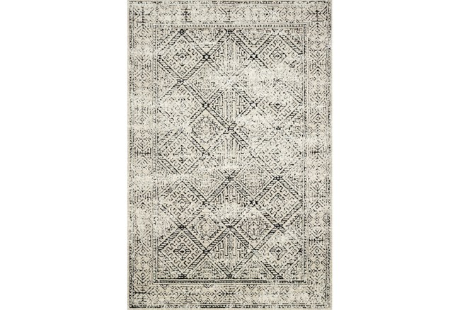 93X117 Rug-Magnolia Home Lotus Ivory/Black By Joanna Gaines  - 360