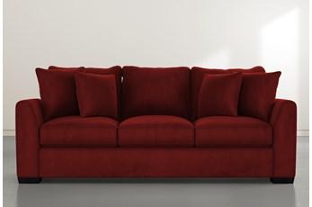 """Sheldon II 98"""" Burgundy Velvet Sofa"""
