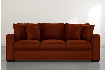 Sheldon II Orange Velvet Sofa