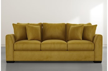 "Sheldon II 98"" Gold Velvet Sofa"