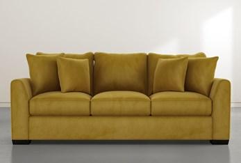 """Sheldon II 98"""" Gold Velvet Sofa"""