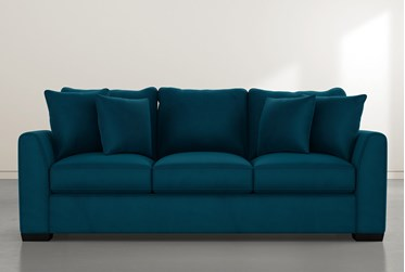 "Sheldon II 98"" Teal Blue Sofa"