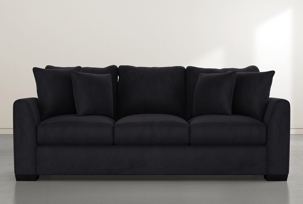 "Sheldon II 98"" Dark Grey Velvet Sofa"