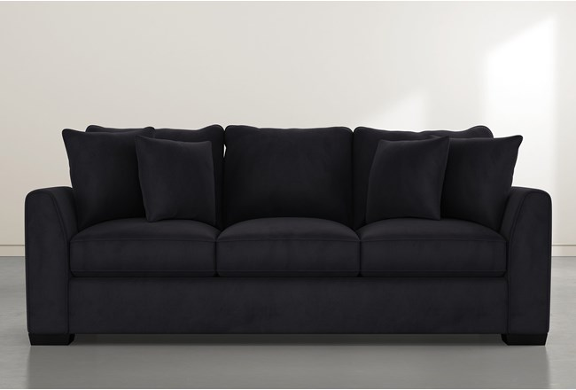 "Sheldon II 98"" Dark Grey Velvet Sofa - 360"