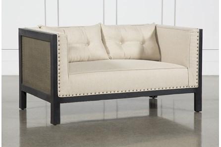 Brass Side + Upholstered Sofa