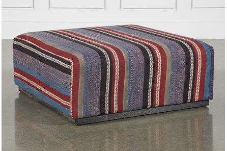 Square Striped Plinth Ottoman