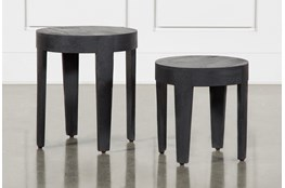 Antique Black Round Nesting Tables