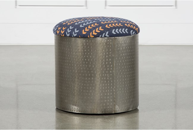 Antique Nickel Upholstered Blue + Orange Arrow Stool - 360