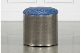 Antique Nickel Upholstered Blue Striped Stool