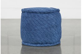 Round Blue Stripe Pouf