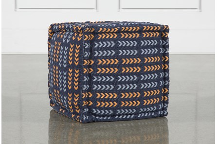 Square Blue + Red Arrow Pouf