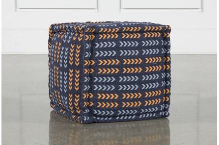 Square Blue + Orange Arrow Pouf