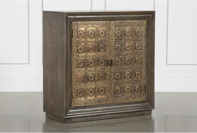 Brass Front 2 Door Cabinet - 360
