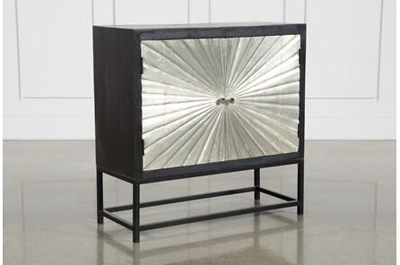Silver 2 Door Sunburst Cabinet