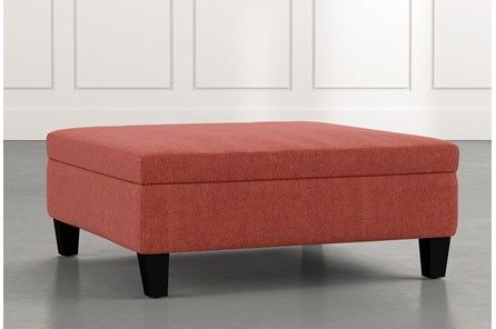 Perch Red Large Square Storage Ottoman