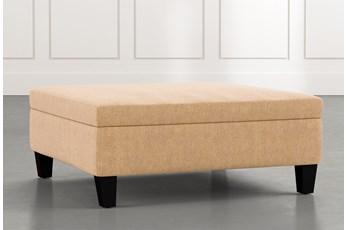 Perch Yellow Large Square Storage Ottoman