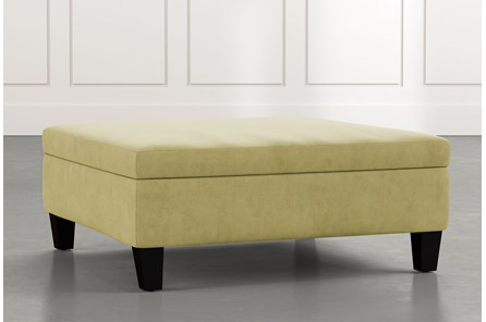 Perch Green Large Square Storage Ottoman