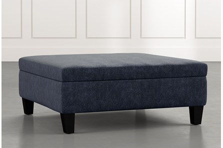 Perch Navy Blue Large Square Storage Ottoman