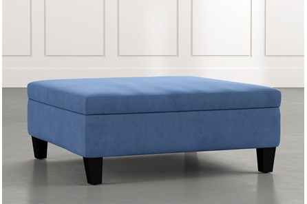Perch Blue Large Square Storage Ottoman