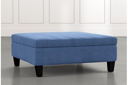 Perch Blue Large Square Storage Ottoman