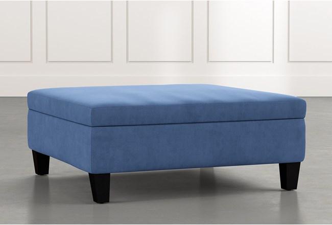 Perch Blue Large Square Storage Ottoman Living Spaces