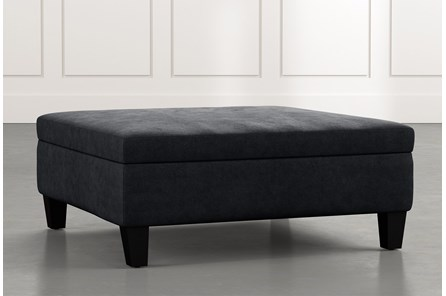 Perch Black Large Square Storage Ottoman