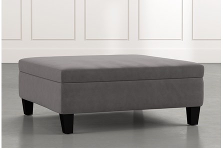 Perch Dark Grey Large Square Storage Ottoman