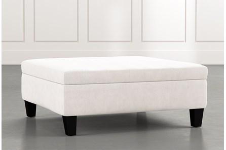 Perch White Large Square Storage Ottoman
