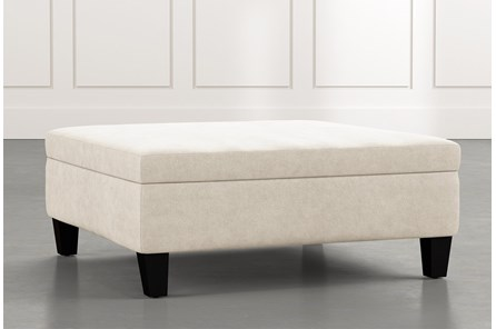 Perch Beige Large Square Storage Ottoman