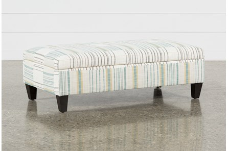 Perch Fabric Medium Rectangle Storage Ottoman - Main