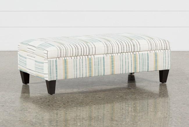 Perch Fabric Medium Rectangle Storage Ottoman - 360