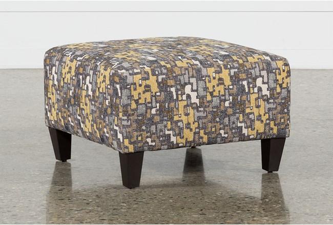 Perch Fabric Small Square Ottoman - 360