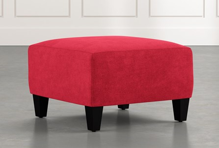 Perch Red Fabric Small Square Ottoman