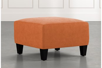Perch Orange Fabric Small Square Ottoman