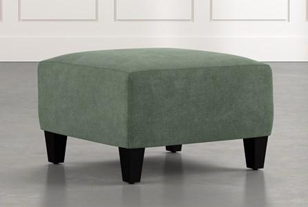 Perch Green Fabric Small Square Ottoman