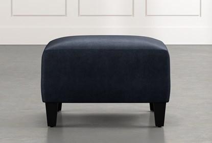 Marvelous Perch Navy Blue Fabric Small Square Ottoman Short Links Chair Design For Home Short Linksinfo