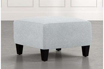 Perch Light Blue Fabric Small Square Ottoman