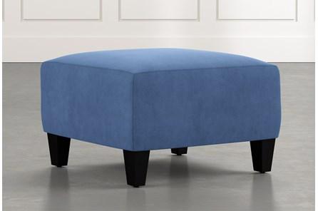 Perch Blue Fabric Small Square Ottoman